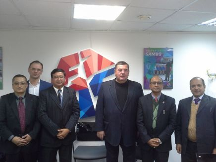 President of NOC Jeevan Ram Shrestha, President of 'Children of Asia' Games organizing committee Mr. Dmitry Glushko, President of International SAMBO Federation Mr. Vasily Shestakov, President of Nepal SAMBO Federation / President IPC Mr. Dhananjaya Shrestha, Secretary of Youth and sports Ministry Mr. Mahesh Prasad Dahal, Joint Secretary Mr. Chudamani Paudel